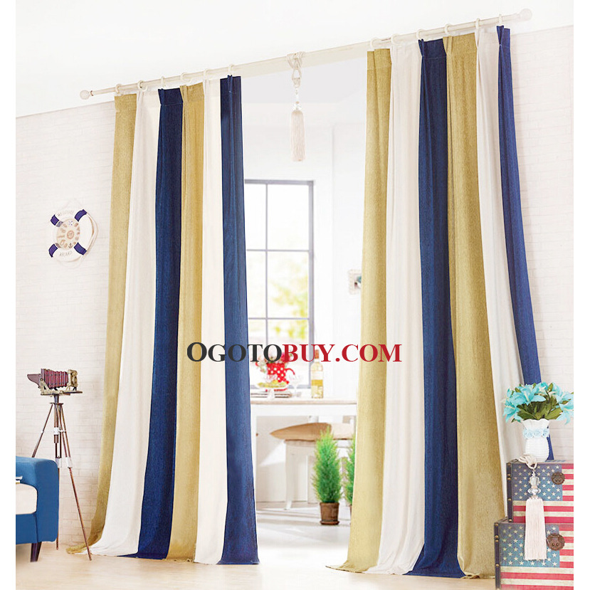 White and navy striped curtains