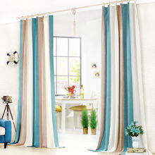 Simple Casual Striped Curtains In Aqua and Coffee Color Thick Chenille Thermal Curtain
