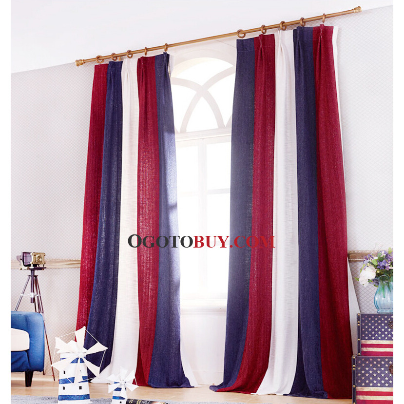 American Country Style Stripe Thermal Curtains In Red and White ...