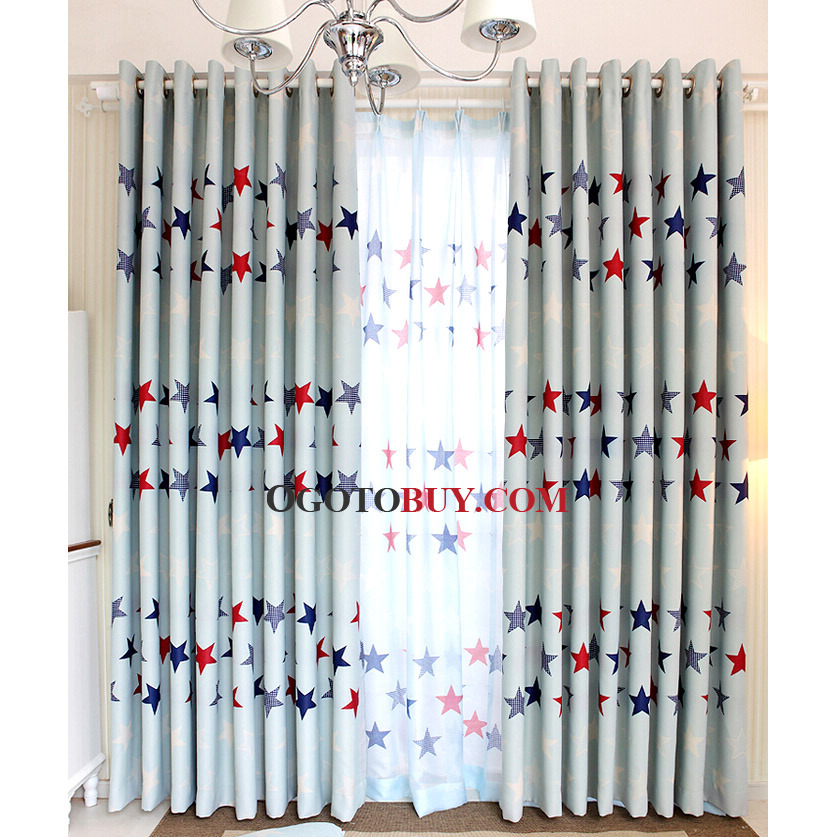Loading zoom. Light Blue Poly Cotton Insulated Kids Curtains Printed with Red