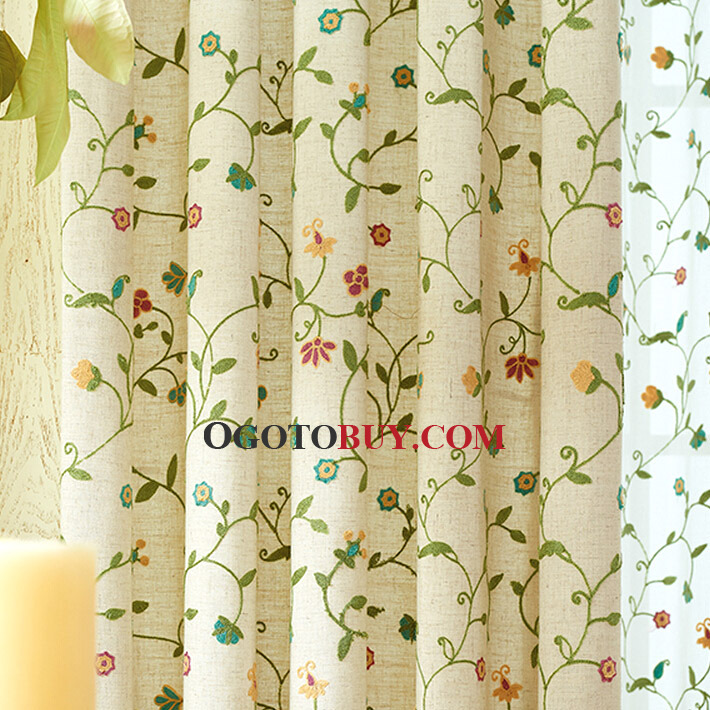 ... Exquisite Embroidered Floral Curtains In Beige And Green Color Cotton  Fabric ...