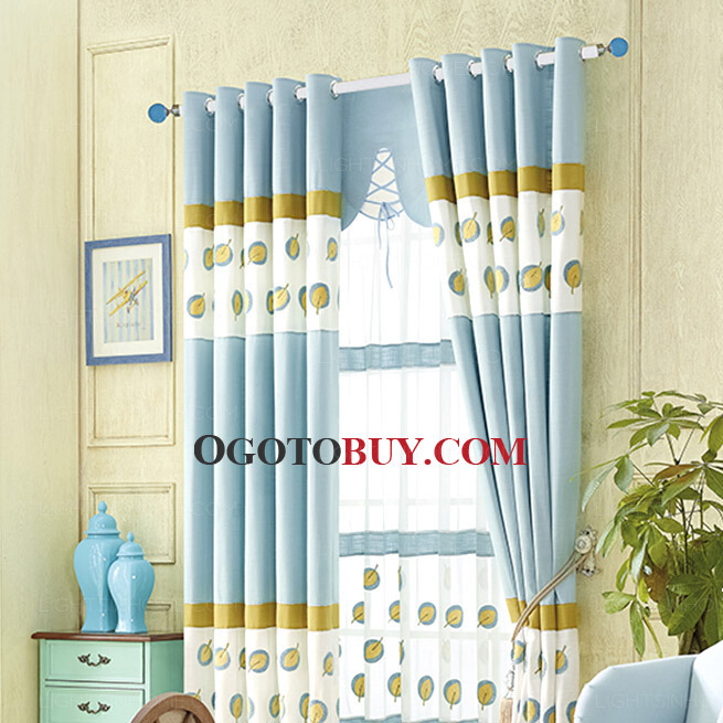 Curtains Ideas blue and gold curtains : Decorative Blue Curtain Embroidered Gold Leaf Pattern Kids ...