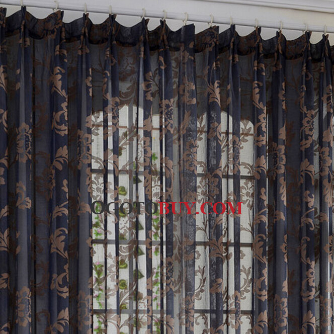 Curtains Ideas black sheer curtain : Classic Black Sheer Curtains Jacquard Brown Floral Pattern, Buy ...