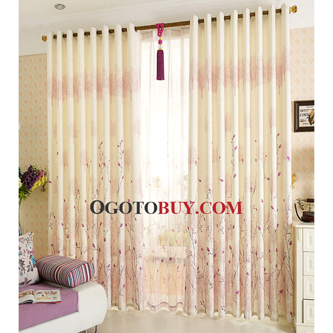 Pastoral Purple Tree and Floral Pattern Beige Linen Country ...