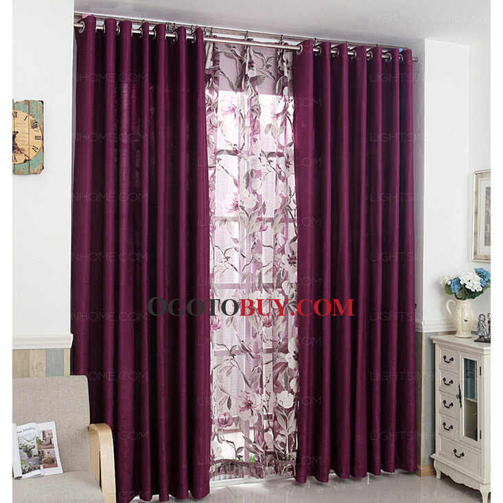 Superb Loading Zoom. Durable Polyester Privacy Insulated Best Purple Curtains ...