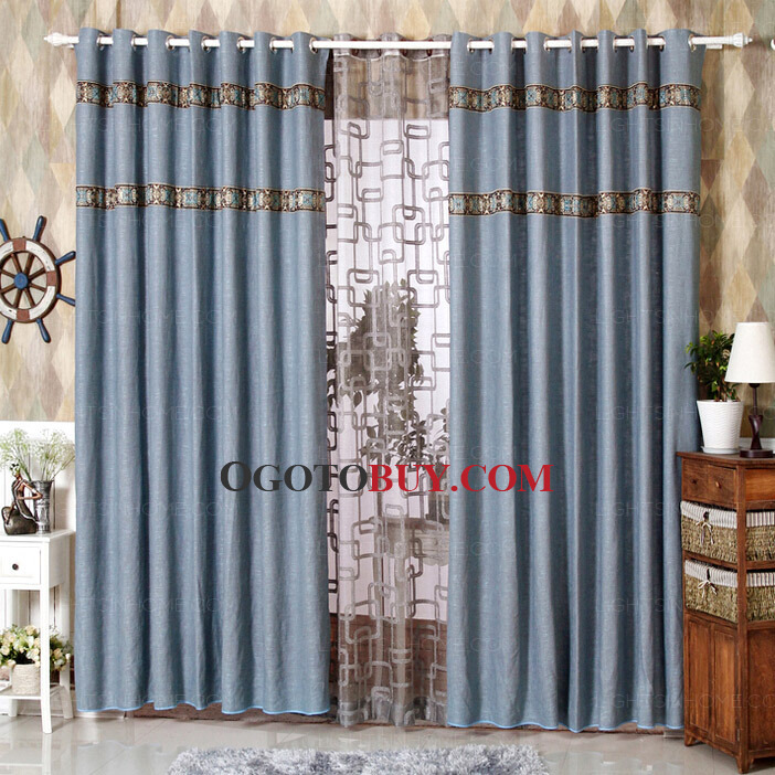 country style curtains in blue color loading zoom