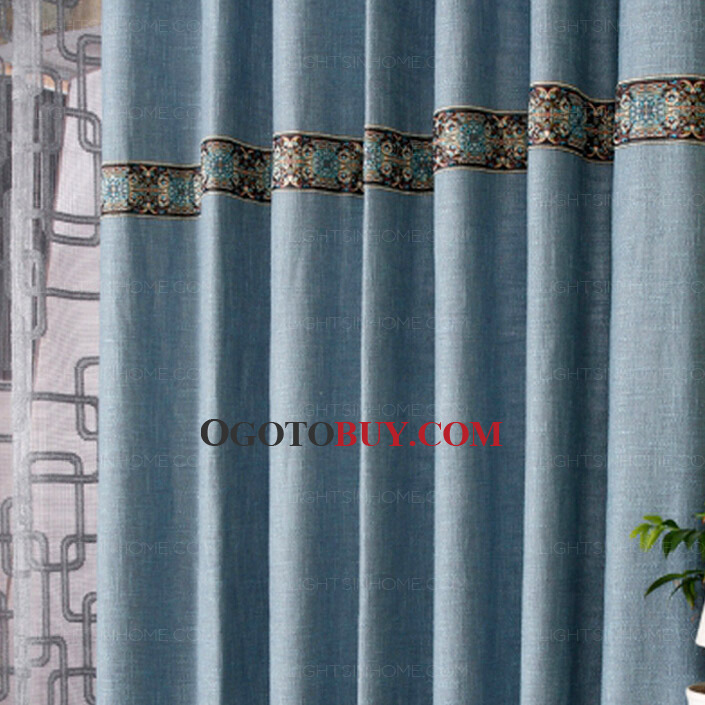 quality burlap simple country style curtains in blue color