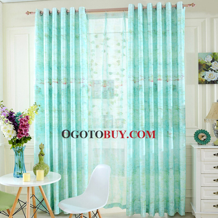 Country Style Decorative Linen/Cotton Bright Blue Kids Room Curtains