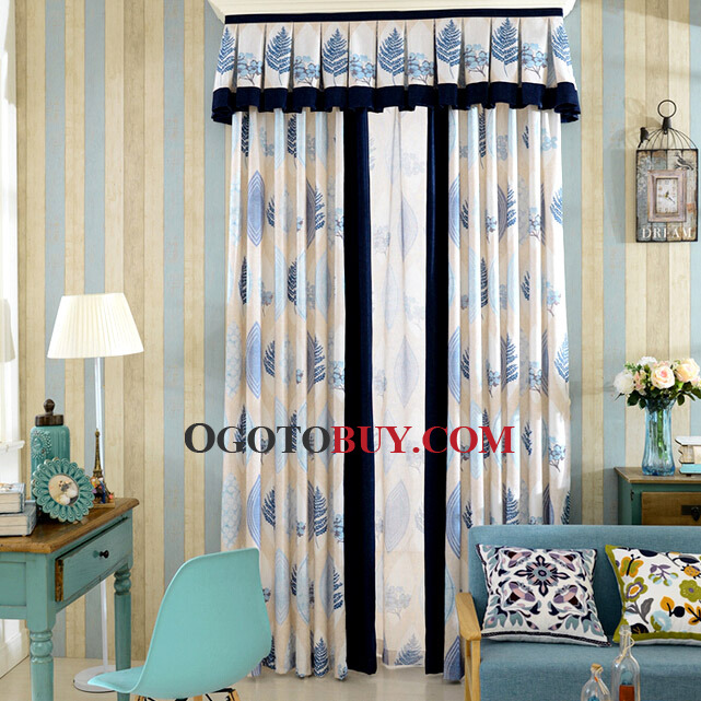 decorative country style curtain printed with blue leaf pattern no valance