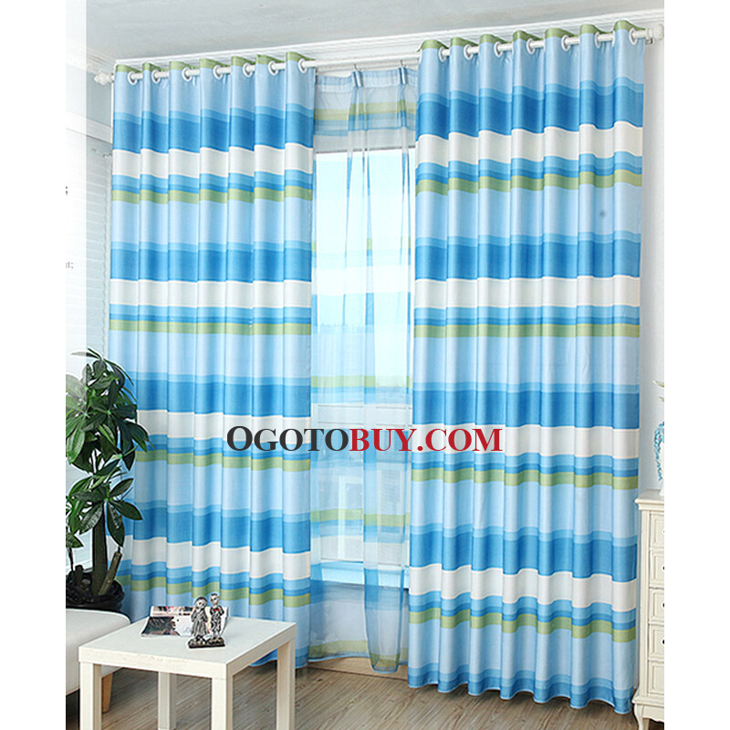 Awesome Loading Zoom. Bright Blue Stripe Window Treatment Kids Room Curtains ...