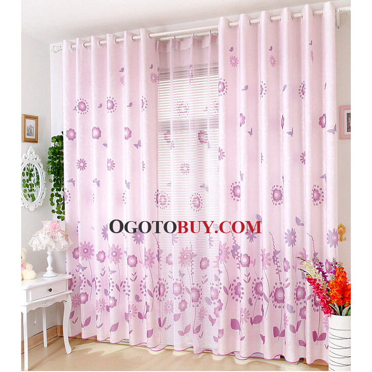 Country Style Purple Cotton/Poly Blend Fabric Cheap Curtains, Buy ...