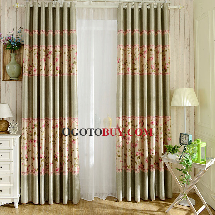 sage green polyester decorative pink floral curtains loading zoom
