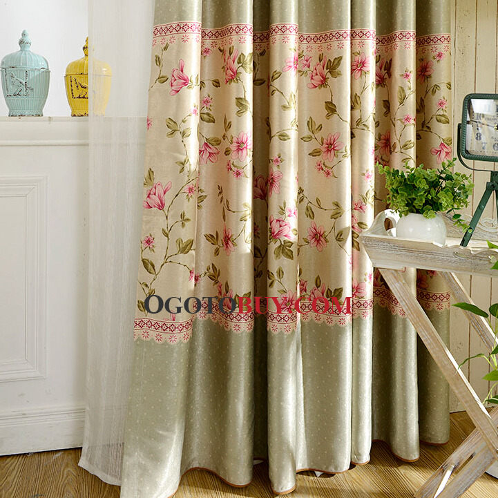 Floral Curtains Coqo Floral Curtain Blue Floral Embroidery Linen Elegant Living Room