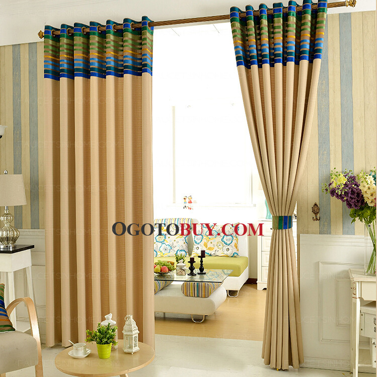 Stripe Window Treatment Linen And Cotton Living Room Curtains Loading Zoom