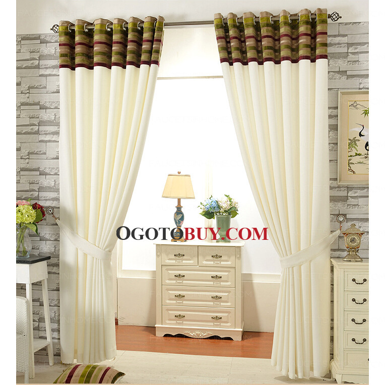 ... Colorful Stripe Head Cream Beige Living Room Curtains ... Part 44