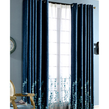 Embroidered Floral Pattern Dark Blue Country Style Curtains