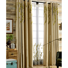 Simple Modern Look Green Embroidery Floral Country Curtains