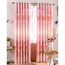 Decorative Chenille Girls Room Romantic Pink Floral Curtains
