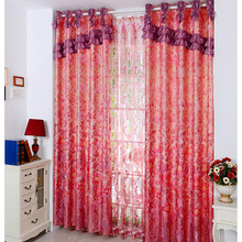 Festival Peony Floral Pattern Bright Red Living Room Curtains