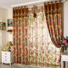 Luxury Thick Chenille Colorful Floral Pattern Living Room Curtains