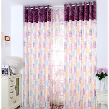 Durable Polyester Tree Pattern Decorative Light Purple Curtains