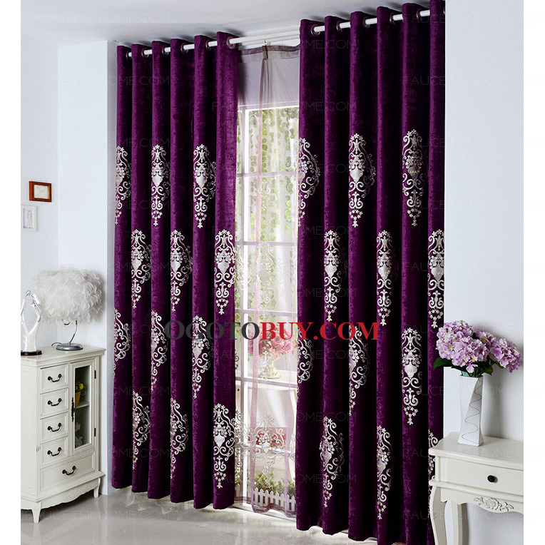 Marvelous Elite Embroidered Classic Pattern Chenille Dark Purple Curtains