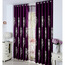Embroidered Classic Pattern Chenille Dark Purple Curtains