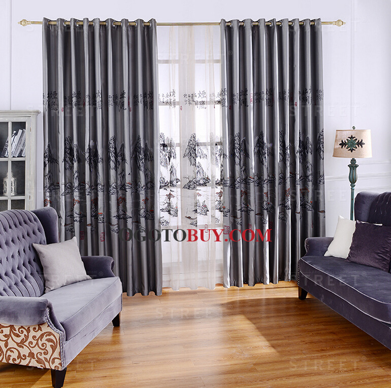 landscape chinese style grey polyester living room curtains, buy