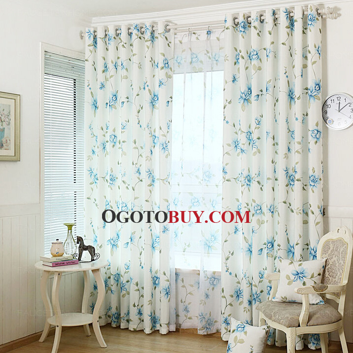 ... Blue Floral Curtains. Loading Zoom