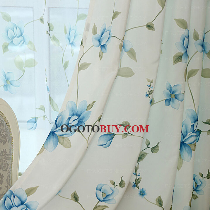 ... Decorative Country Style Girls Room Blue Floral Curtains ...  Blue Floral Curtains