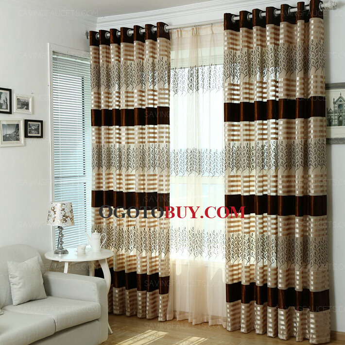 Classic Stripe and Leaf Pattern Velvet Living Room Curtains Buy