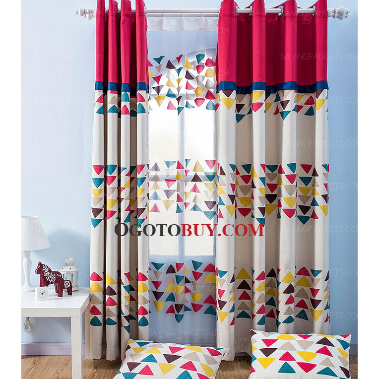 loading zoom colorful triangle geometric pattern decorative kids room curtains