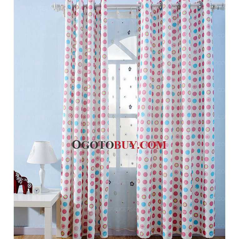 pink and blue dot and circle pattern kids room s curtains