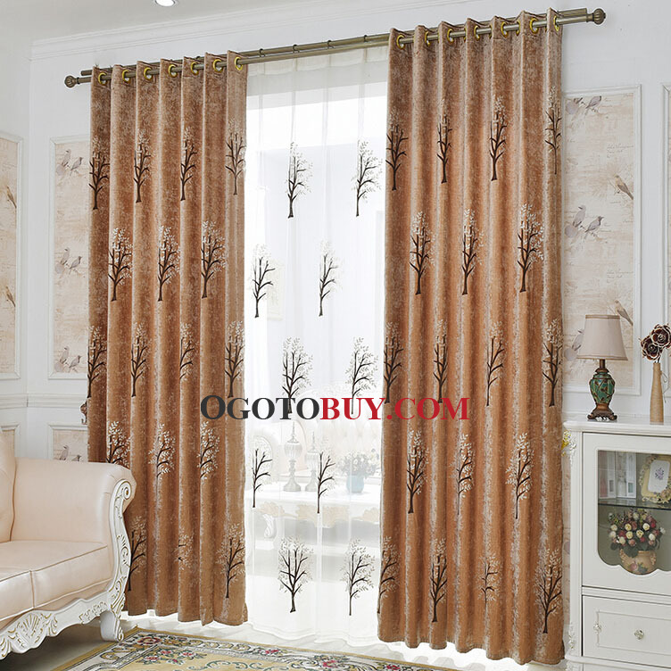 Loading Zoom. Embroidery Tree Pattern Chenille Thick Blackout Curtains ...
