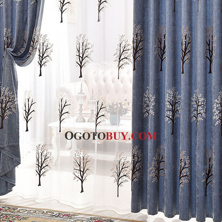Luxury Blue Chenille Fabric Best Living Room Curtains