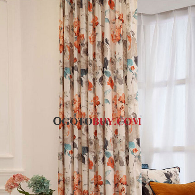 Beautiful Orange Floral Pattern Velvet Thick Living Room Curtains