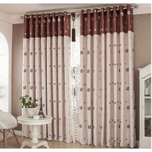 Double-size Patterned Soundproof Delicate Floral Curtains