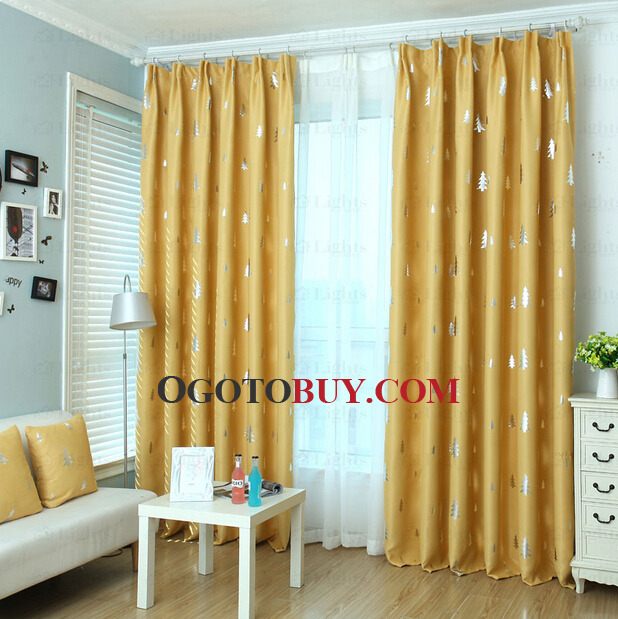 Curtains Ideas buy insulated curtains : Pine Tree Pattern Yellow Polyester Insulated Kids Curtains, Buy ...
