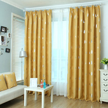 Pine Tree Pattern Yellow Polyester Insulated Kids Curtains