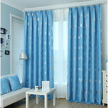 Printed Pine Tree Blue Polyester Privacy Kids Room Curtains