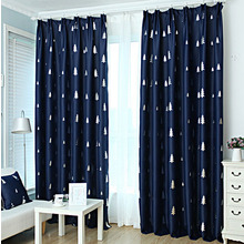 Thick Polyester In Dark Navy Color Kids Room Curtains