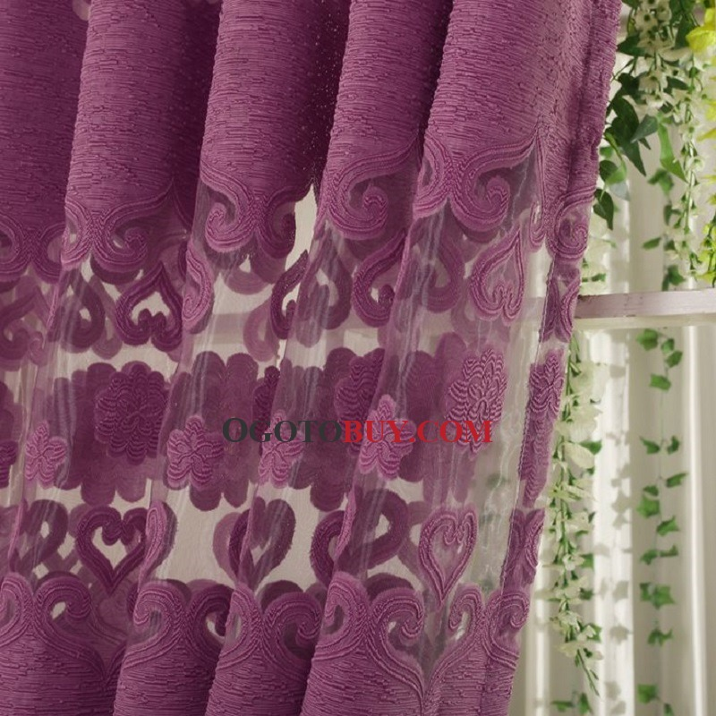 ... Decorative Purple Sheer Curtains Embossed Floral Pattern ...