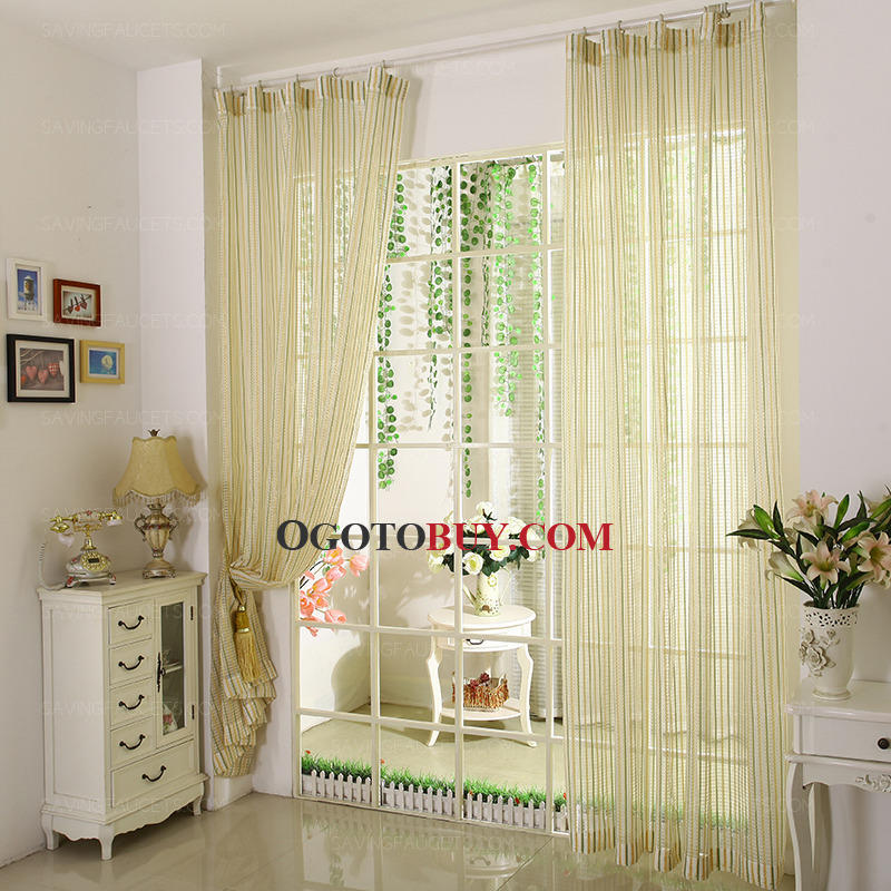 loading zoom yellow and green striped sheer curtain simple curtain panels