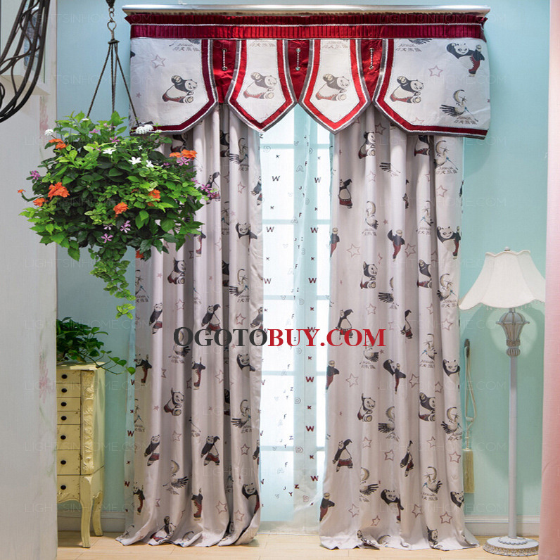 Chic Cartoon Panda Pattern Best Living Room Curtains(No Valance ...