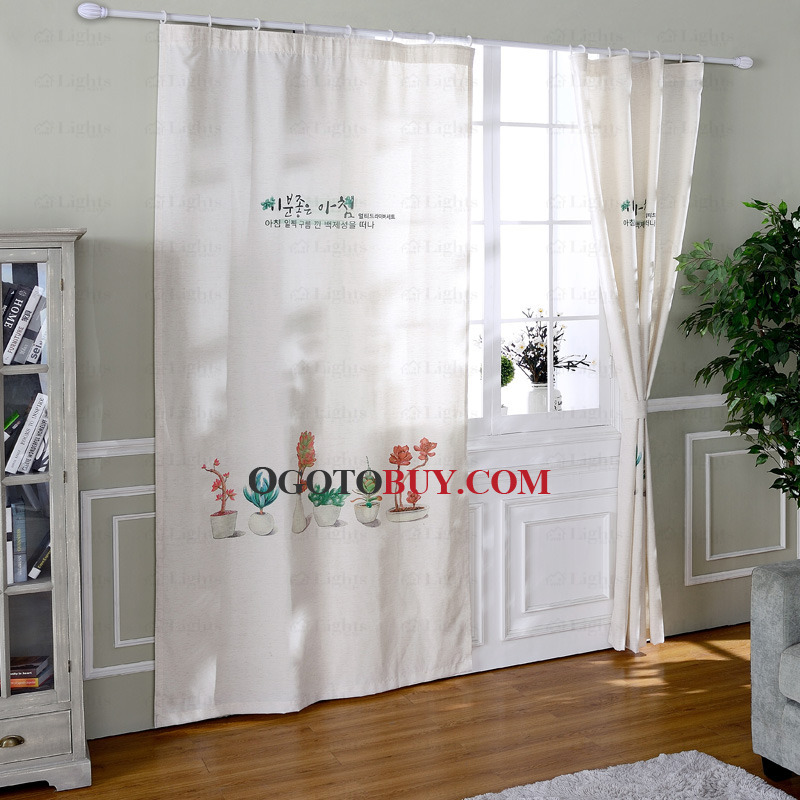 white linen curtains country simple pattern print