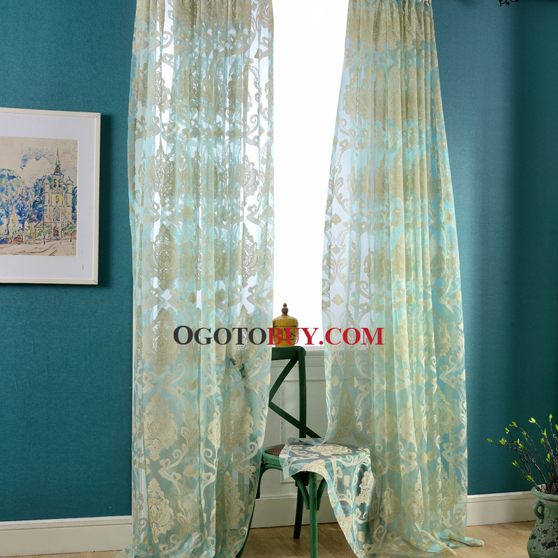 ... Blue Sheer Curtains Elegant Pattern Print ...