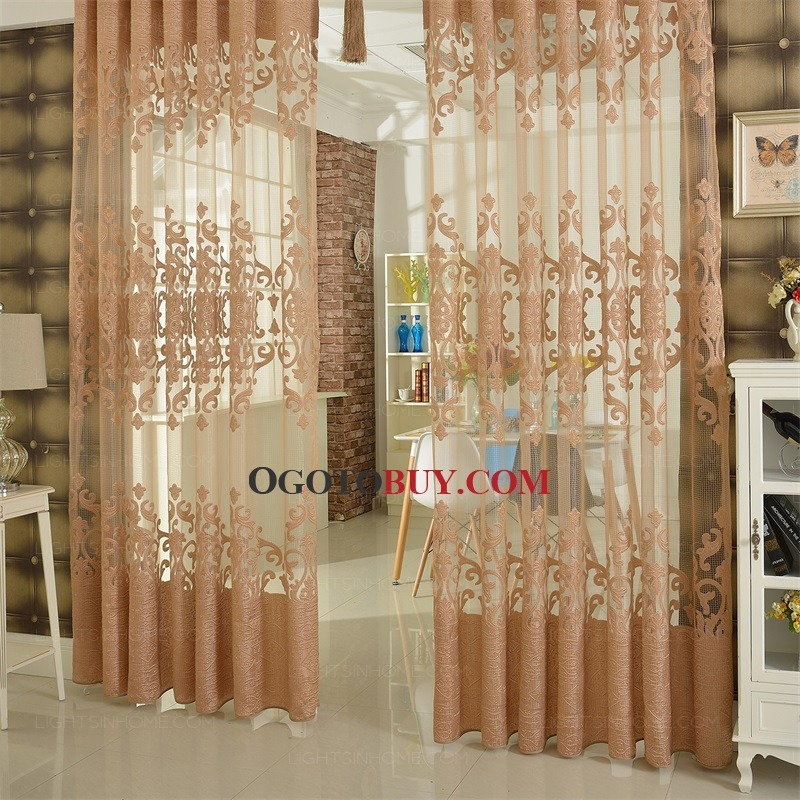 ... Sheer Curtain Privacy Chocolate Floral Embossed. Loading zoom