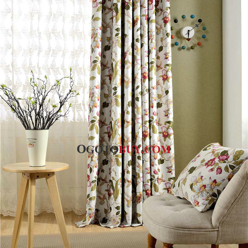 country curtains room darkening floral print ivory