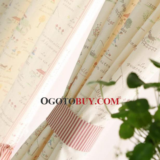 Country Curtains country curtains on sale : Country Curtains Pink Pattern Print Splicing Striped Linen/Cotton ...