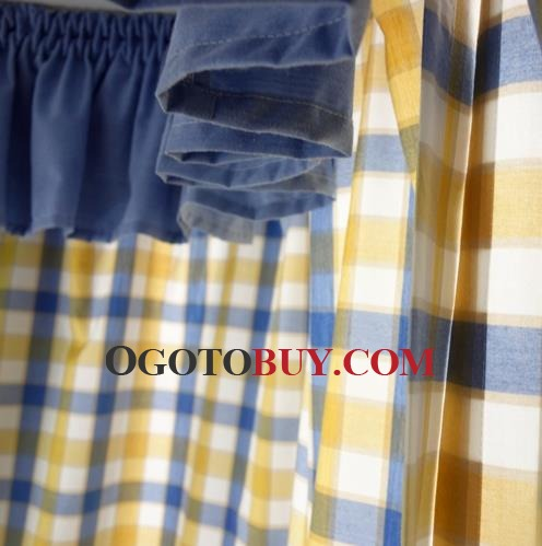 Blue And Yellow Curtains Prints - Rooms